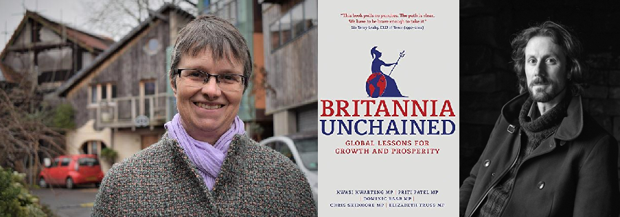 Composite image of Molly Scott Cato, the cover of Britannia Unchained, and Paul Kingsnorth