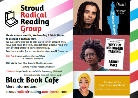Poster for Stroud Radical Reading Group Feb-April 2019 / text is below