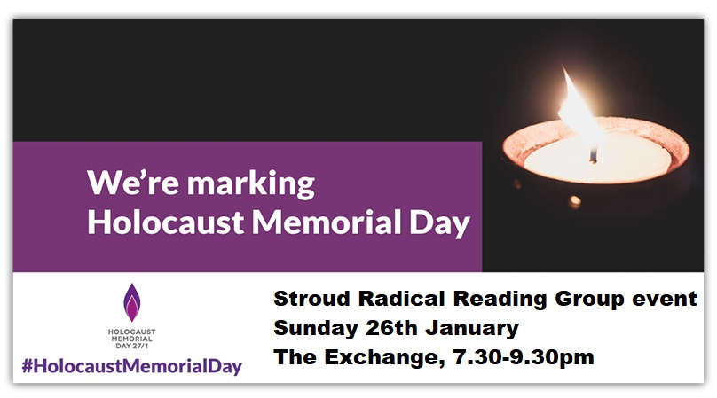 We're marking Holocaust Memorial Day image of candle, with event details as in text
