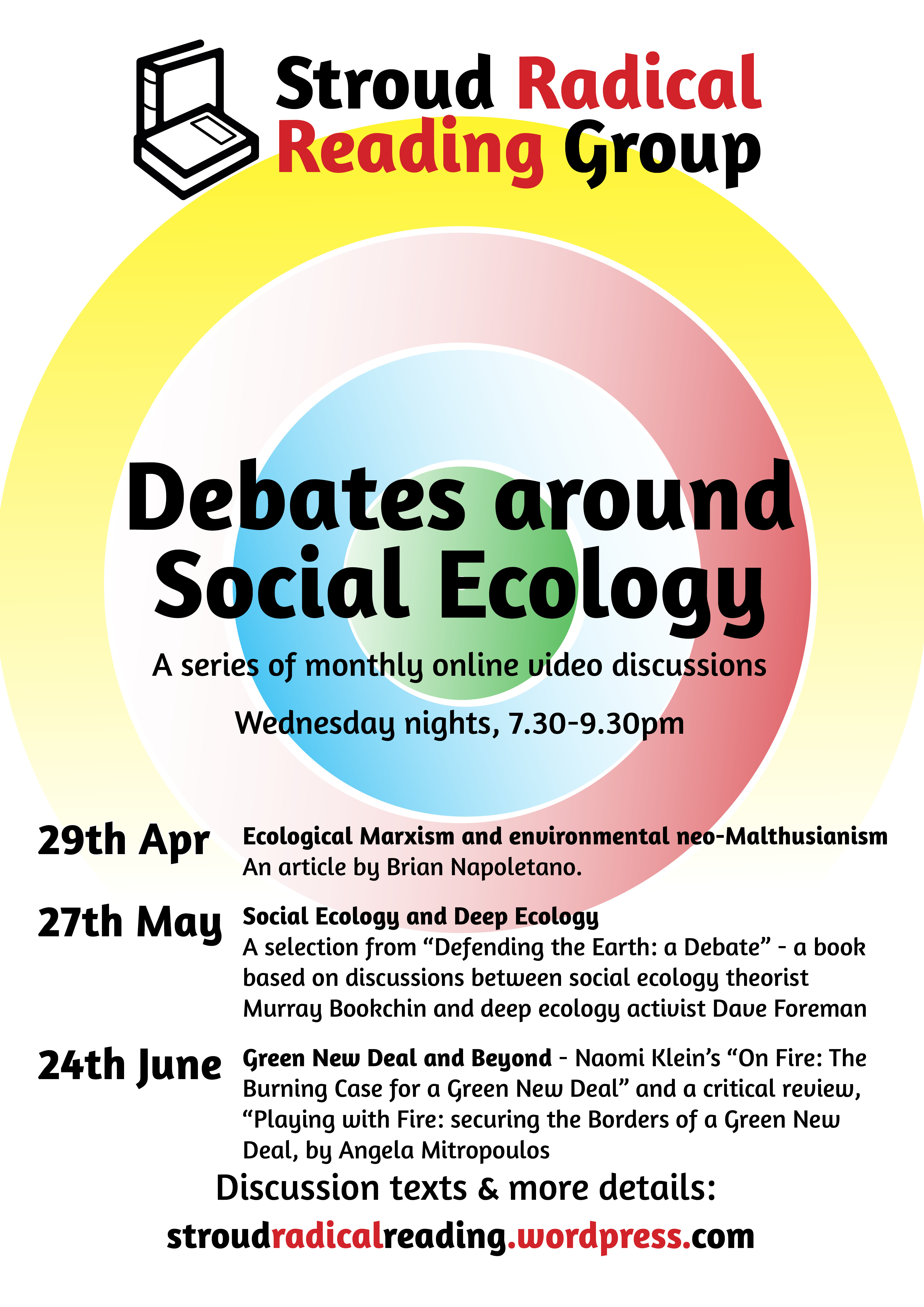 "Poster with concentric circles in different colours, ""Debates around Social Ecology"" title, and details contained in webpage text"