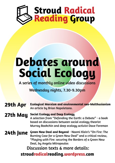 """Poster with concentric circles in different colours, """"Debates around Social Ecology"""" title, and details contained in webpage text"""